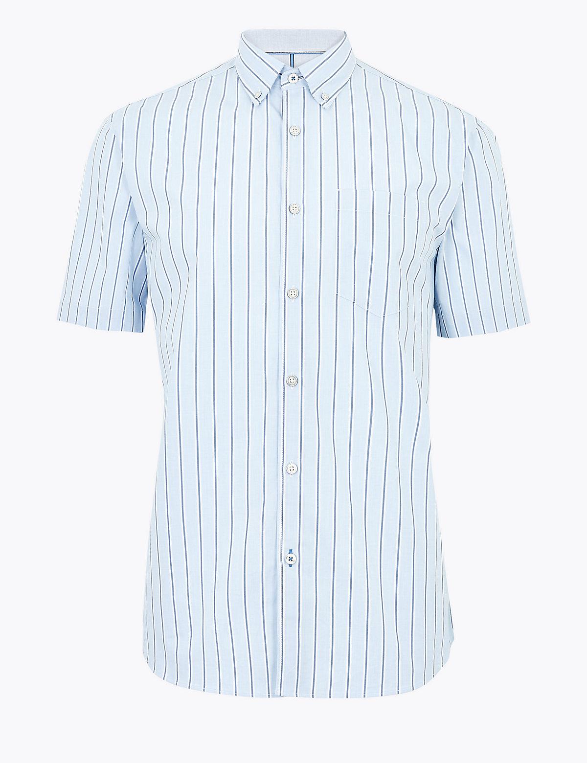 Хлопковая рубашка в тонкую полоску с коротким рукавом
