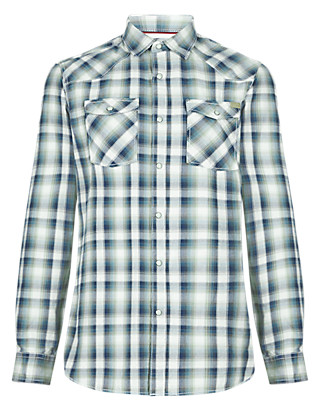 XXXL Pure Cotton Laundered Tailored Fit Checked Shirt Clothing