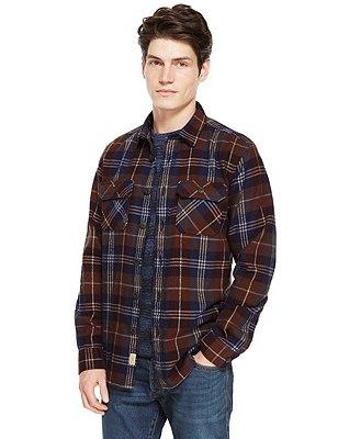 XXXL Pure Cotton Tailored Fit Checked Shirt, TERRACOTTA MIX, catlanding
