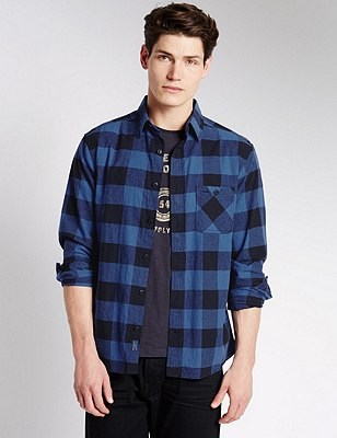 2in Longer Pure Cotton Opposite Checked Shirt, BLUE MIX, catlanding