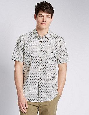 Pure Cotton Ikat Print Short Sleeve Shirt, ECRU, catlanding