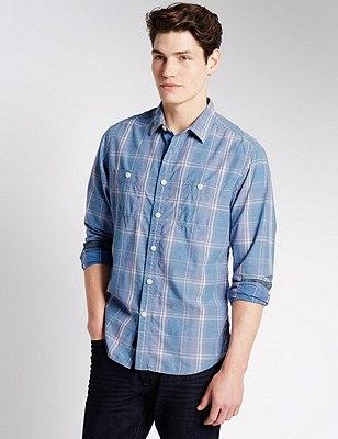 Pure Cotton Dobby Checked Shirt, ECRU MIX, catlanding