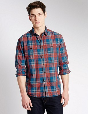 Pure Cotton Double Face Checked Shirt, RED MIX, catlanding