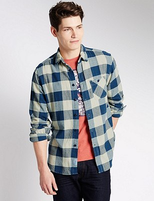 Pure Cotton Tailored Fit Checked Shirt, ECRU, catlanding