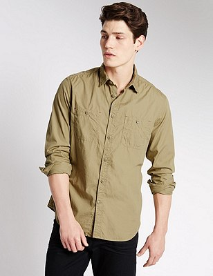 Pure Cotton Tailored Fit Shirt, NATURAL, catlanding