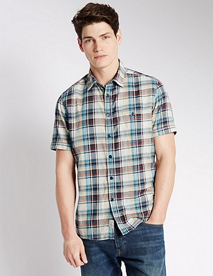Pure Cotton Tailored Fit Grid Checked Shirt, TEAL MIX, catlanding