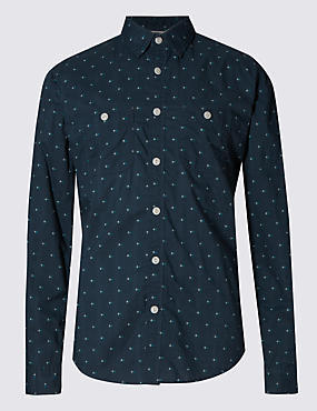 Pure Cotton Geometrical Print Tailored Fit Shirt