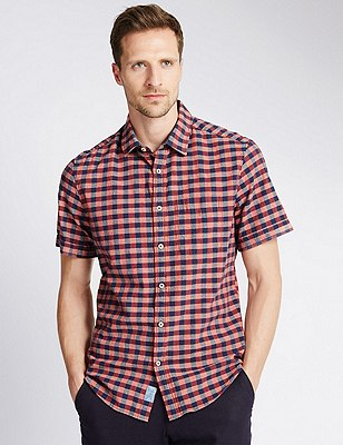 Pure Cotton Large Block Checked Shirt, DARK CORAL, catlanding