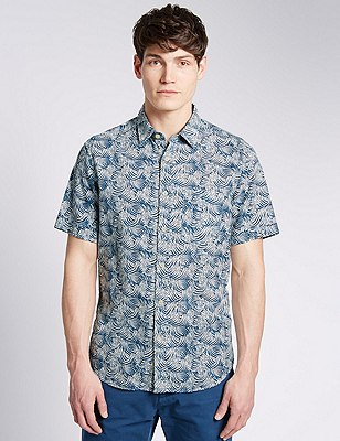 Pure Cotton Tailored Fit Wave Print Shirt, DARK MARINE, catlanding