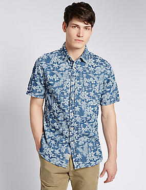 Pure Cotton Short Sleeve Floral Shirt, CHAMBRAY, catlanding