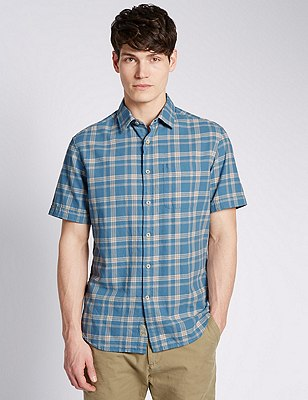 Pure Cotton Tailored Fit Block Checked Shirt, BLUE, catlanding