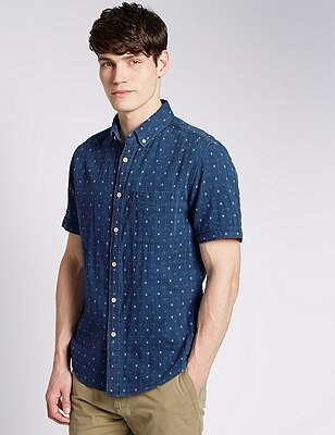Pure Cotton Tailored Fit Denim Hashtag Shirt, INDIGO, catlanding