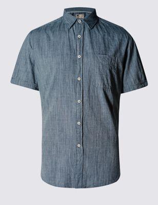 Приталенная рубашка деним-стайл
