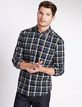 Long Sleeve Brushed Flannel Shirt, NAVY MIX, catlanding