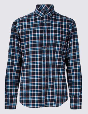 Фланелевая рубашка из чистого хлопка в крупную клетку Blue Harbour T259492B