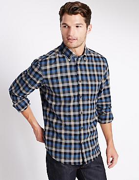 Pure Cotton Long Sleeve Shirt, SAPPHIRE, catlanding
