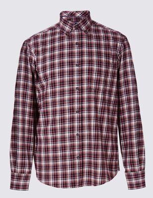 Полотняная рубашка из чистого хлопка в клетку
