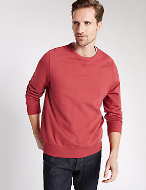Cotton Rich Sweatshirt, RED, catlanding