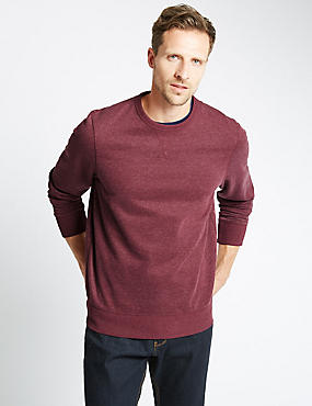 Crew Neck Sweatshirt, DARK BURGUNDY, catlanding