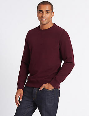 Cotton Rich Sweatshirt, PURPLE MIX, catlanding