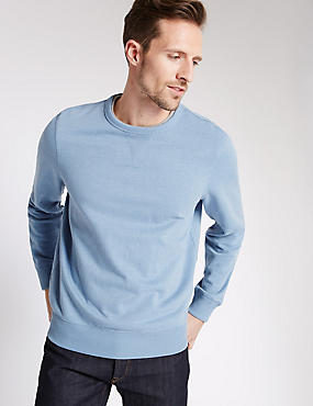 Cotton Rich Sweatshirt, BLUE MIX, catlanding
