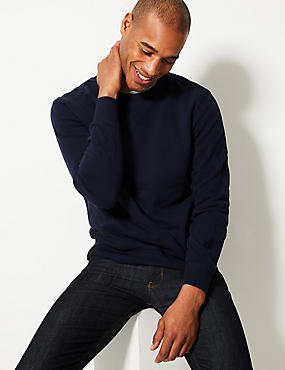 Cotton Rich Sweatshirt, NAVY, catlanding