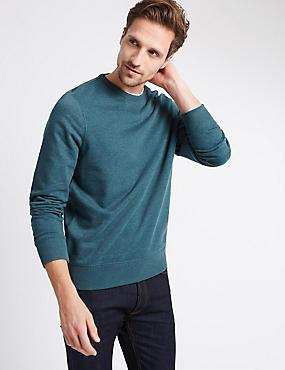 Cotton Rich Crew Neck Sweatshirt, DARK GREEN, catlanding