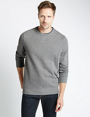 Crew Neck Sweatshirt, GREY MIX, catlanding