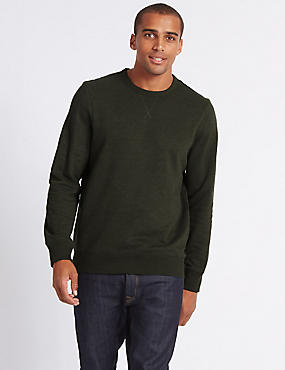 Cotton Rich Sweatshirt, DARK KHAKI, catlanding