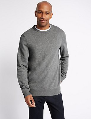Pure Cotton Crew Neck Sweatshirt, GREY MIX, catlanding