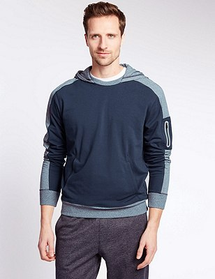 Performance Hoody with Stretch Fabric and & Reflective Trim, GREY MIX, catlanding