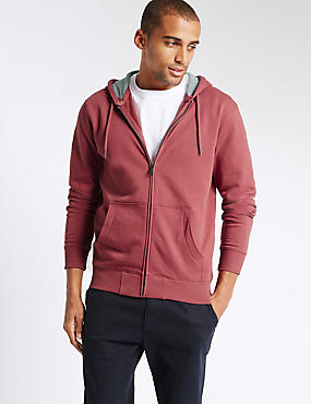 Cotton Rich Hooded Top, RED MIX, catlanding