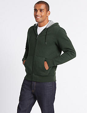 Cotton Rich Hooded Top, KHAKI, catlanding