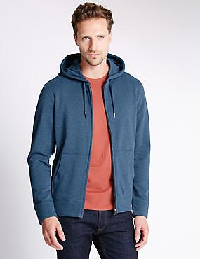 Cotton Rich Hooded Top, DENIM MIX, catlanding