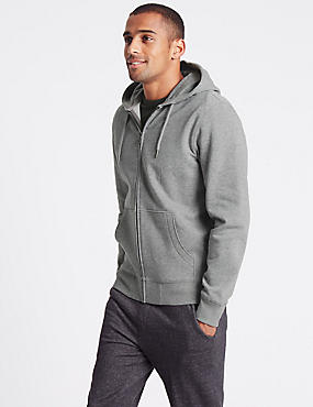 Cotton Rich Hooded Top, GREY, catlanding
