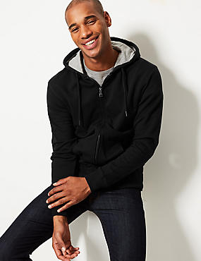 Cotton Rich Hooded Top, BLACK, catlanding
