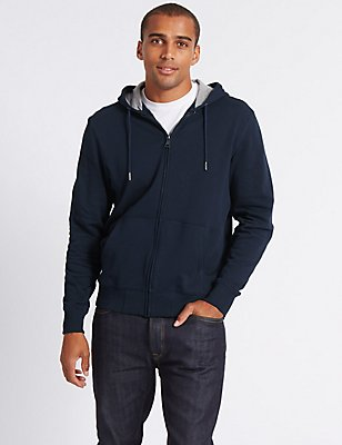 Big & Tall Pure Cotton Hooded Top, NAVY, catlanding
