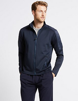 Sweatshirt mit Stehkragen und durchgehendem Reißverschluss, MARINEBLAU, catlanding