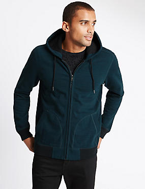 Cotton Rich Hooded Cardigan, DARK GREEN, catlanding