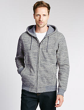 Cotton Rich Hooded Cardigan, GREY MIX, catlanding