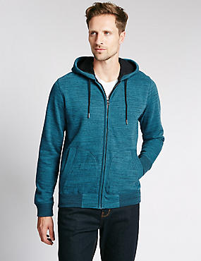 Cotton Rich Hooded Cardigan, TEAL MIX, catlanding