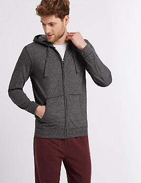 Cotton Rich Textured Hooded Top, CHARCOAL MIX, catlanding