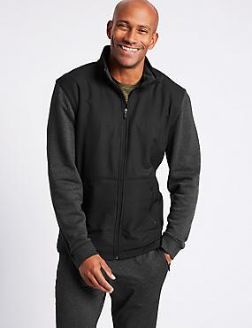 Textured Funnel Neck Regular Fit Jacket, BLACK, catlanding