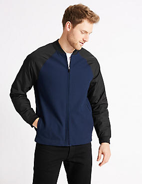 Cotton Baseball Jacket Regular Fit, NAVY MIX, catlanding