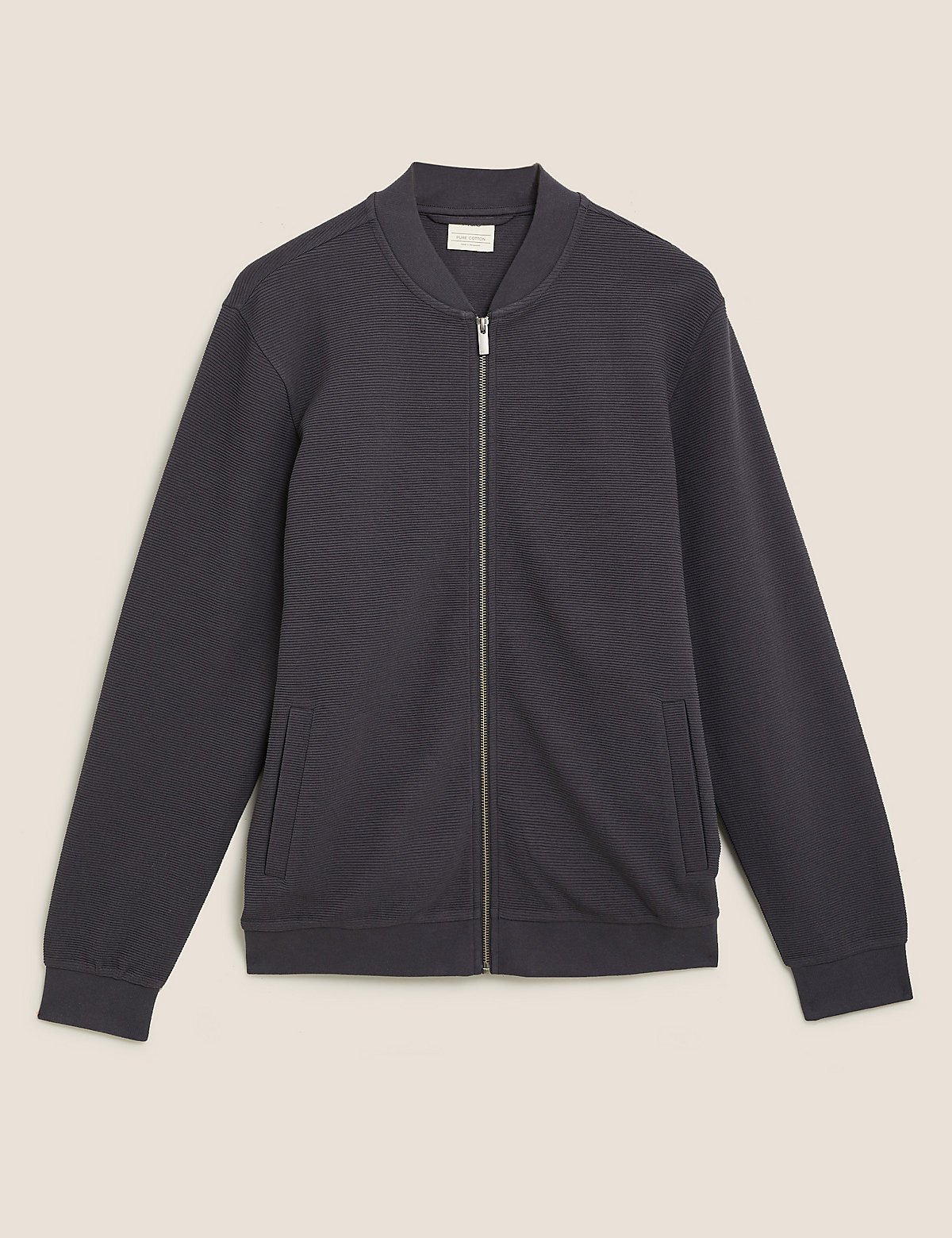 Куртка-бомбер фактурная из чистого хлопка