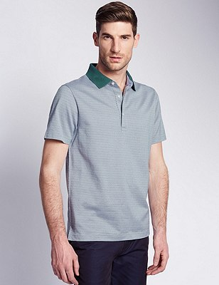 Pure Cotton Tailored Fit Mercerised Jacquard Polo Shirt, SAGE, catlanding
