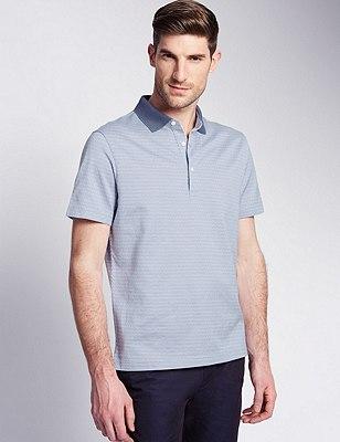 Pure Cotton Tailored Fit Mercerised Jacquard Polo Shirt, BLUE, catlanding