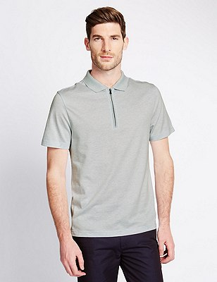 Pure Cotton Mercerised Striped Polo Shirt, LIGHT BLUE, catlanding