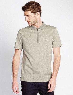 Pure Cotton Mercerised Striped Polo Shirt, NATURAL MIX, catlanding