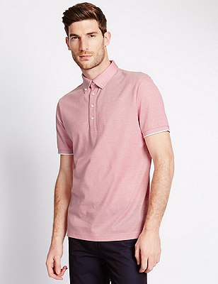 Cotton Rich Tailored Fit Polo Shirt with Linen, TEA ROSE, catlanding